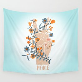 Peace Sign With Orange Flowers, Blue Flowers And Vines Wall Tapestry