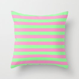 Pink & Green Stripes Throw Pillow