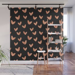 Rose Gold Hearts on Black Wall Mural