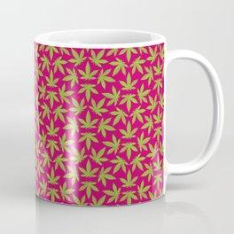 Cannabis Pattern Burgundy Background Coffee Mug