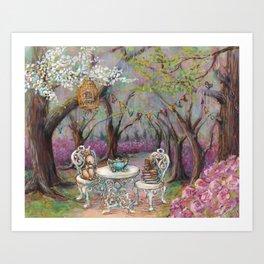 Vintage Woodland Tea Party Art Print