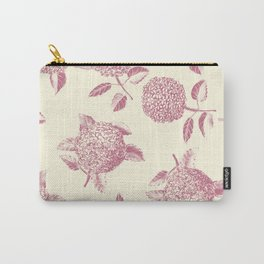 Big lush hydrangea , hortensia flowers on off-white seamless pattern. Pale pink. Atemporal, classic. Carry-All Pouch