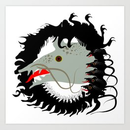 Rat and mouses. Dead black goat. Art Print