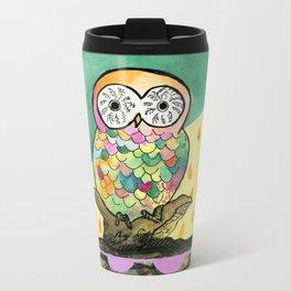 The Jeweled Gumball Owl Metal Travel Mug