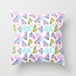 Roller Skates Pattern (White Background) Throw Pillow