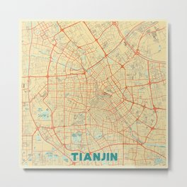 Tianjin Map Retro Metal Print