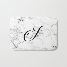 Letter J on Marble texture Initial personalized monogram Bath Mat