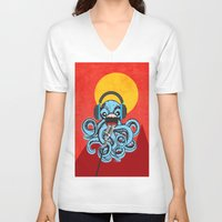 squid V-neck T-shirts featuring Squid by Janice