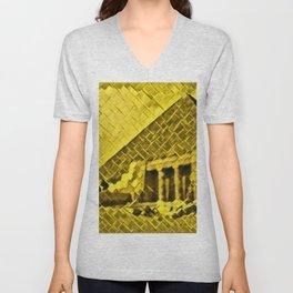 Egypt Pyramids Artistic Illustration Gold Floor Style Unisex V-Neck
