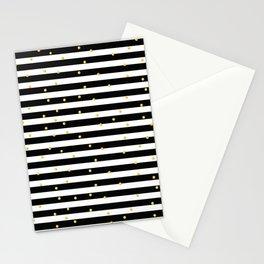 Modern black white gold polka dots striped pattern Stationery Cards