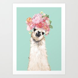 Llama with Flowers Crown #3 Art Print