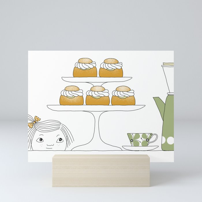 Fika with Semlor Mini Art Print