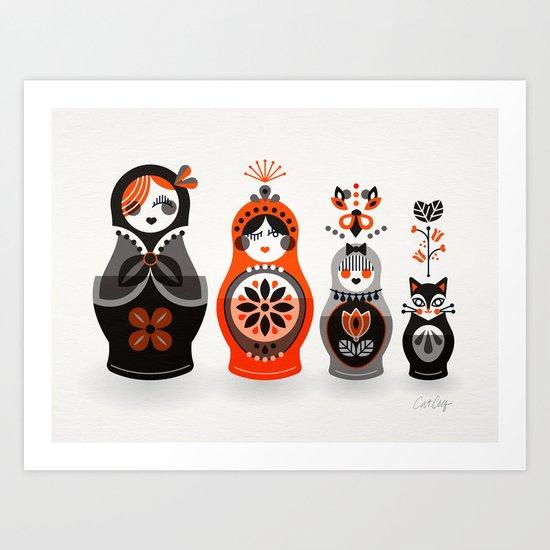 Russian Nesting Dolls – Red & Black Art Print
