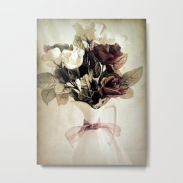 Roses in Pitcher Modern Cottage Chic Country Still Life A450 Metal Print