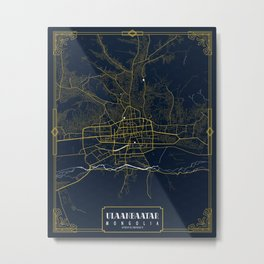 Ulaanbaatar City Map of Mongolia - Gold Art Deco Metal Print