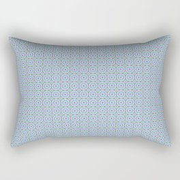Holla for a Preppy Mandala Pattern in Neon Blues and Pinks Rectangular Pillow