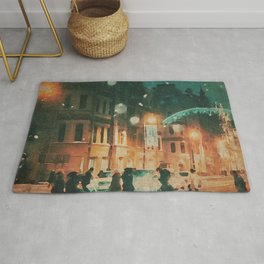 A Snowy Night in New York Watercolor Rug