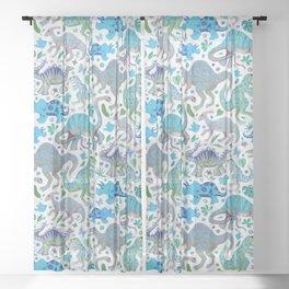 Happy Dinos - blue green Sheer Curtain