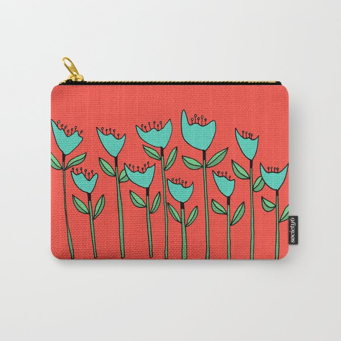 Colorful Floral Drawing Carry-All Pouch