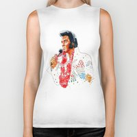elvis presley Biker Tanks featuring Elvis presley by calibos