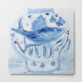Blue and White Ginger Jar with Fish Motif  Metal Print