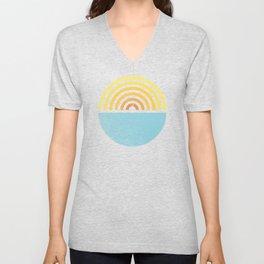 Vinyl Sunset Ocean Unisex V-Neck