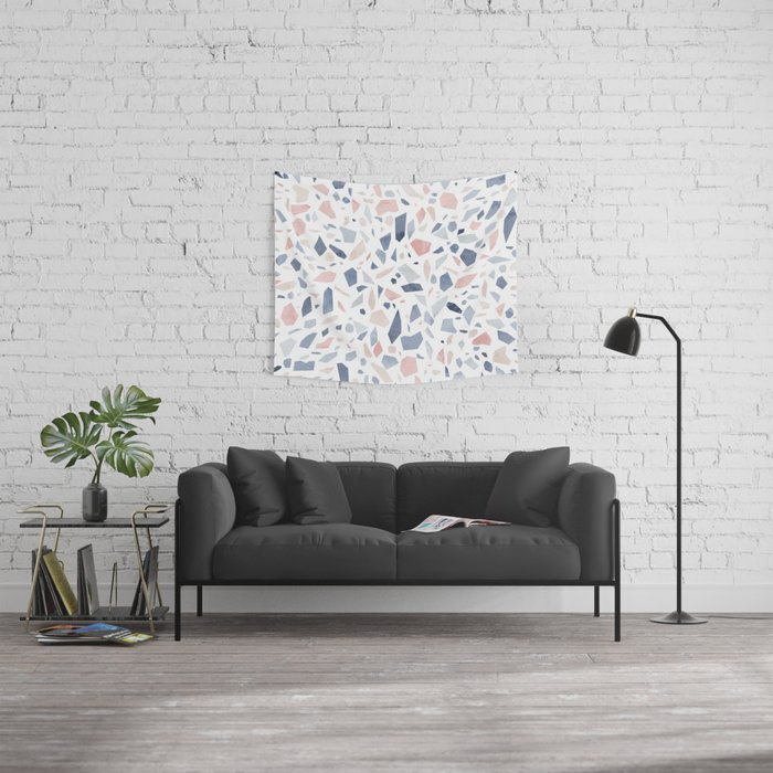 Terrazzo Vintage Pastel Blue Pink Wall Tapestry