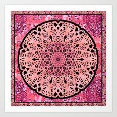 Boho Coral Mandala Lace Art Print