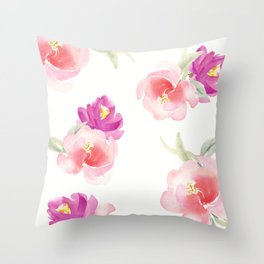 WATERCOLOR FLORAL PILLOW, ROSE PILLOW, ROSE WATERCOLOR Throw Pillow