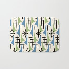 Mid Century Modern Atomic Wing Composition Blue & Sage Bath Mat