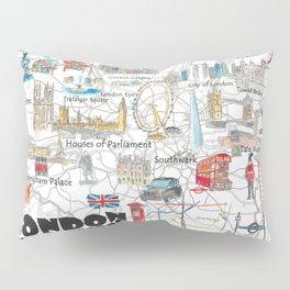 London UK Illustrated Travel Poster Favorite Map Tourist Highlights Pillow Sham