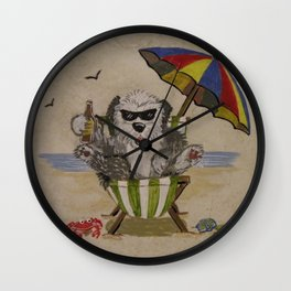 Sheepie at beach 1 Wall Clock