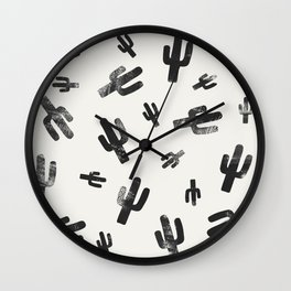 Black and White Lino Print Cactus Pattern Wall Clock