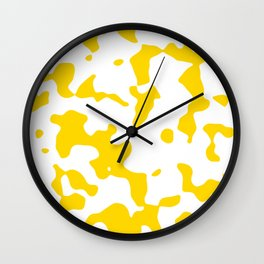 Large Spots - White and Gold Yellow Wall Clock