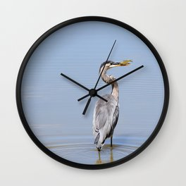 Great Blue Heron Fishing - I Wall Clock