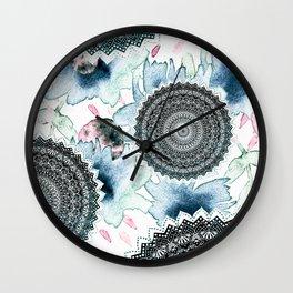 BLOOM MANDALAS IN BLUE Wall Clock