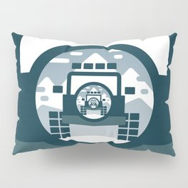 4x4 vehicle vector drawing in the mountains. Pillow Sham
