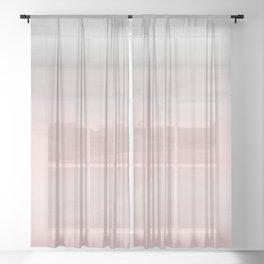 Blushing Pink & Grey Watercolor Sheer Curtain