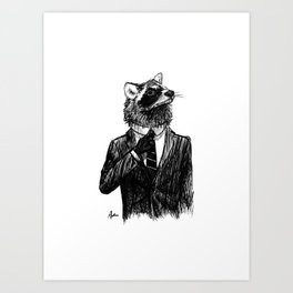 Dapper Raccoon Art Print