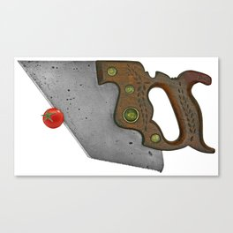 knife and tomato Canvas Print