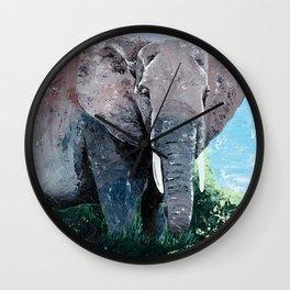 Animal - The big elephant - by LiliFlore Wall Clock