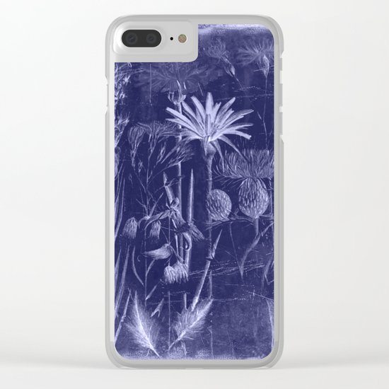 floral cyanotype Clear iPhone Case