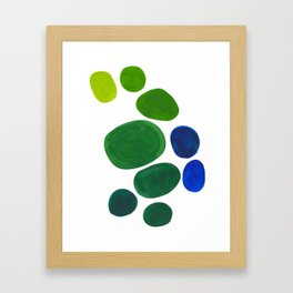 Mid Century Kusama Abstract Minimalist Colorful Pop Art Lime Green Blue Rainbow Ombre Gradient Framed Art Print