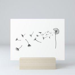 Dandelion in the wind Mini Art Print