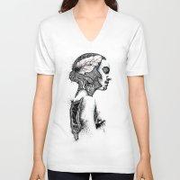 black swan V-neck T-shirts featuring Swan by JsR_OtR