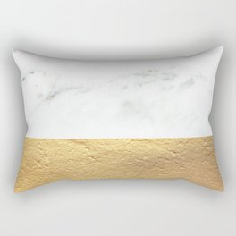 Color Blocked Gold & Marble Rectangular Pillow