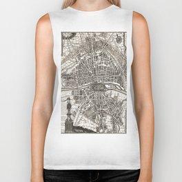 PARIS Old map Biker Tank