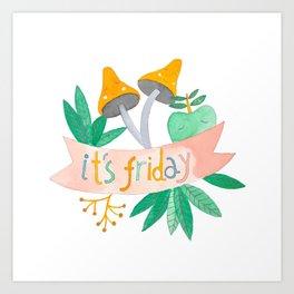 "botanical ""It's friday"" watercolor illustration Art Print"