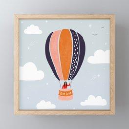 """Get lost"" Hot air balloon adventure in the sky Framed Mini Art Print"