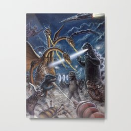 Godzilla Destroy all Monsters Monster Island Kaiju battle Metal Print